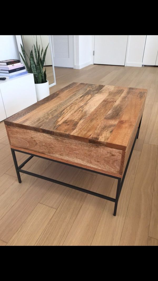 BEAUTIFUL WEST ELM COFFEE TABLE RAW MANGO COLOR For Sale In Union - West elm plank coffee table