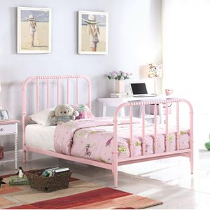 NEW Casual Twin OR FULL SIZE Bed with Pink Finished Bobbin Motifs for Sale in Los Angeles, CA