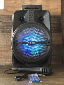 """8"""" Bluetooth Rechargable Karaoke Speaker Keus With Microphone And LED Display  Thumbnail"""