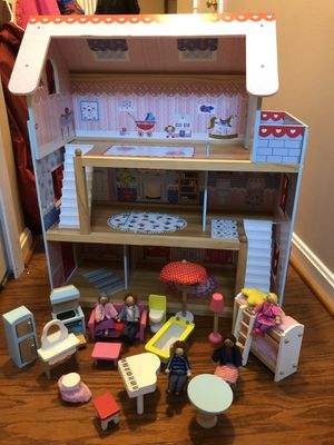 KidKraft wooden doll house with accessories for Sale in Alexandria, VA