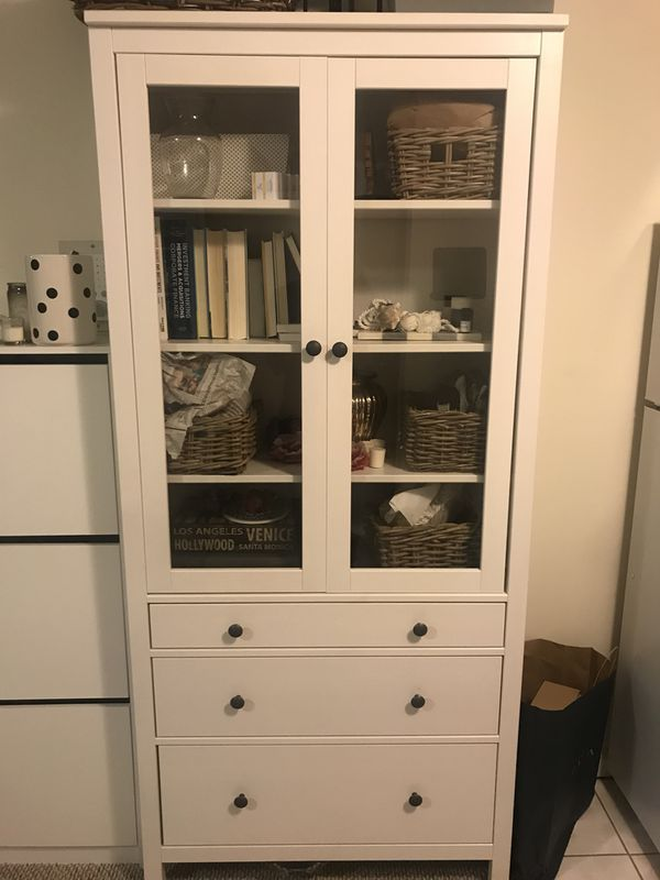 Ikea Hemnes Glass Door Cabinet W 3 Drawers For Sale In San