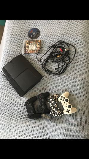 PS3 with 3 controllers and GTA , PS4 controller and PS4 game for Sale in Alexandria, VA