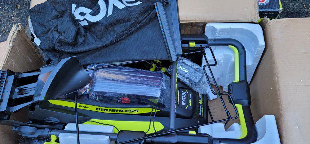 """Ryobi 20"""" 40V Brushless Cordless Smart Trek Self-Propelled Walk Behind Mower"""