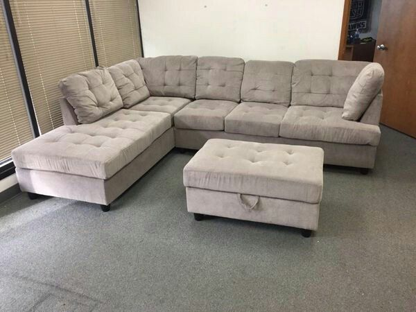 Admirable New Grey Chenille Sectional Couch With Storage Ottoman For Gamerscity Chair Design For Home Gamerscityorg