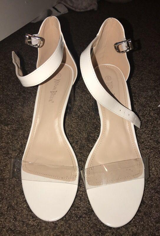 Clear block sandal heel