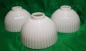 3 Vintage milk glass shades with horizontal & vertical lines for Sale in St. Louis, MO