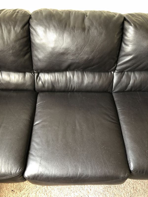 84inch 7ft7 Black Leather Sofa 40obo For Sale In Elk Grove Ca