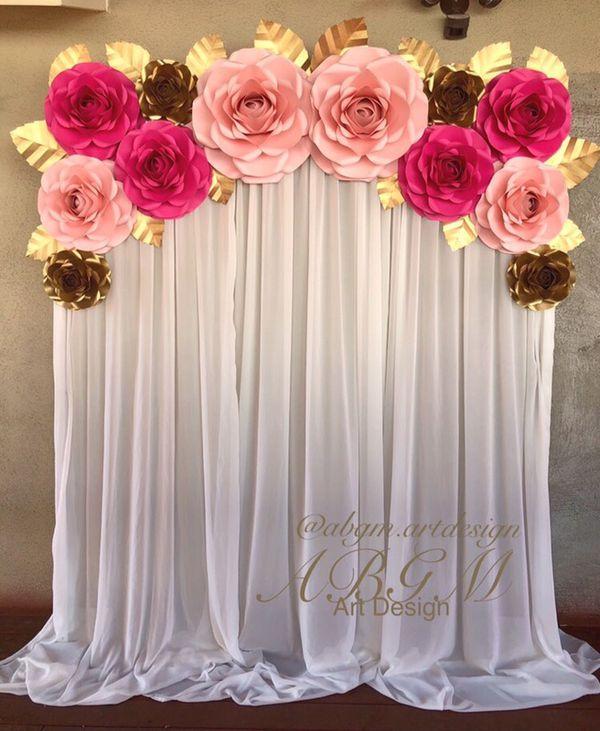 Offer Up Los Angeles >> Flores de papel • Paper flowers • Flores de papel grandes • Rosas • Paper Flowers Backdrop • Set ...