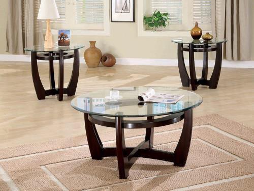 Cappuccino/ Glass 3pc TABLE SET