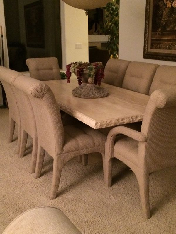 Robb Stucky Travertine Dining Table And 8 Upholstered Chairs