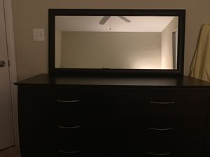 Six drawer dresser, dimensions 7.5 wide x 32 long, separate mirror and king size bed (mattress not included). for Sale in Arlington, VA