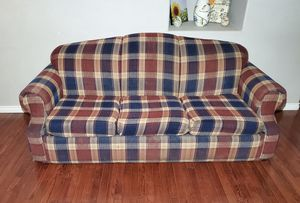 Photo 3-Seat Plaid Polyester Queen Hide-a-Bed Pull-Out Sleeper Couch