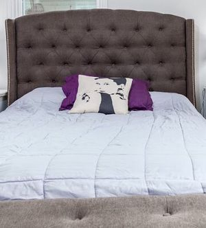 High Quality Queen Upholstered Bed Frame & Mattress for Sale in Washington, DC