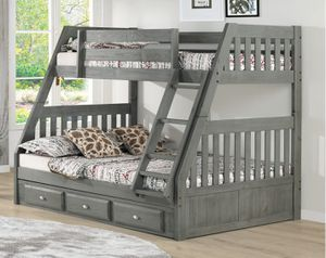 Twin over full bunk bed. Grey color. Special offer for Sale in Orlando, FL