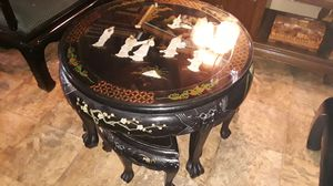 Photo Antique high end Asian coffee table with Pearl inlays good condition asking 800 negotiable
