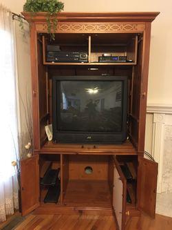 Entertainment Center W/ Two TVs. Thumbnail