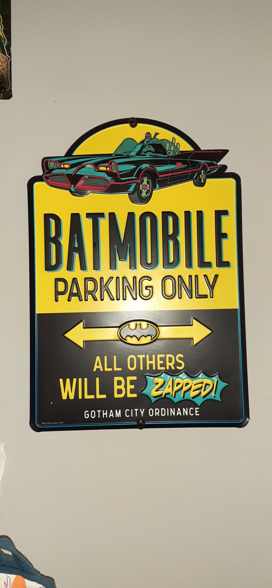 Metal batman sign