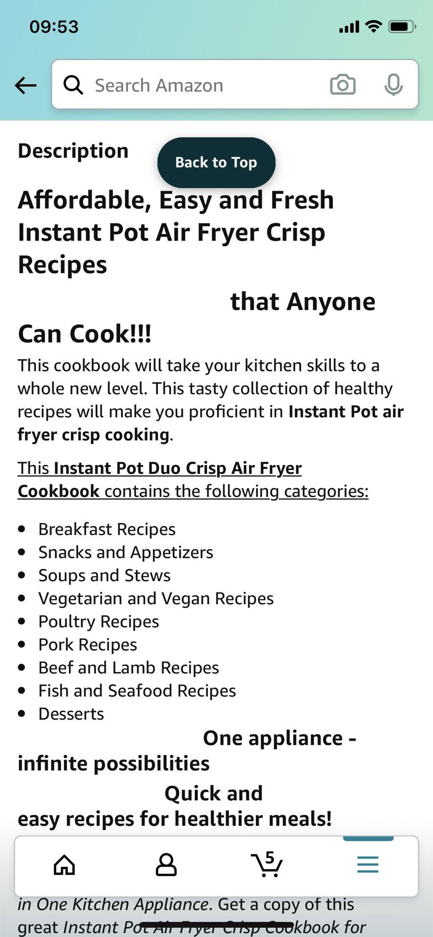 Instant pot cookbook air fryer