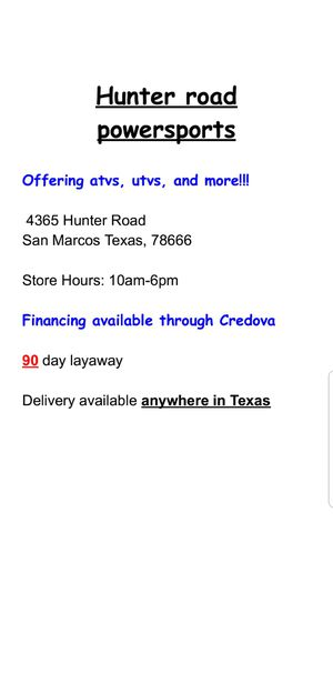 Hunter road powersports for Sale in San Marcos, TX - OfferUp