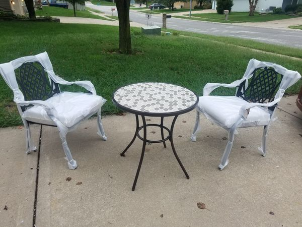 New Patio Furniture With Bistro Marble Table And 2 Chairs For In Kansas City Mo Offerup
