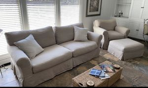 Photo Originally purchased for $2,200! Sofa and Chair with Ottoman. Sofa pillows included.