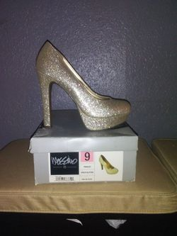 Mossimo gold glitter high heels size 9 Thumbnail