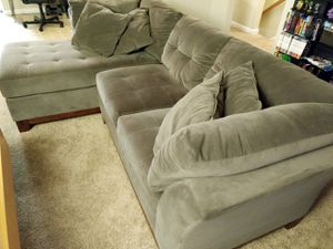 Gray-brown left-facing 2-pc chaise sectional couch for Sale in Arlington, VA