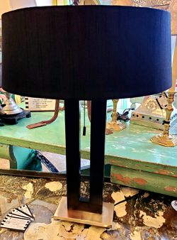 Modern Black Lamp & Custom Shade #9272 Thumbnail
