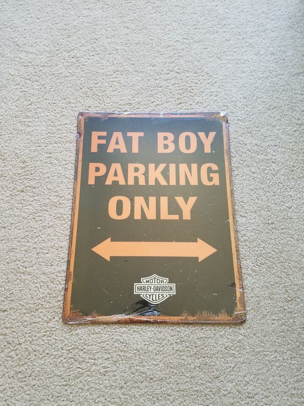 Harley Davidson Motorcycle Bike Fat Boy Parking Only Steel