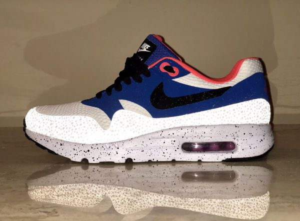 best service 43006 06eb6 Nike Air Max 1 Ultra Essentials Running Shoes 819476-104 Men s US 8 White  Navy