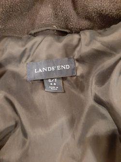 Lands End Black Full Length Trench Coat Puffer Jacket Sz S / T Thumbnail