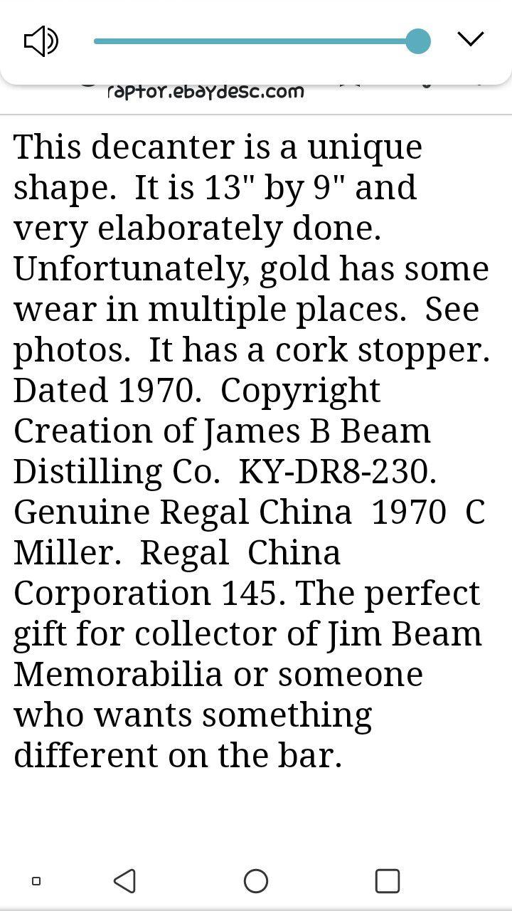 Jim Beam Regal liquor decanter