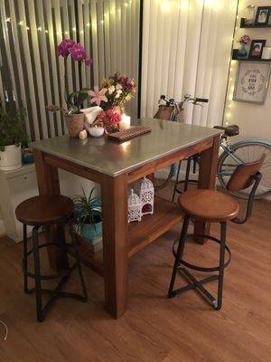 West Elm Rustic Kitchen Island and 3 stools for Sale in Washington, DC