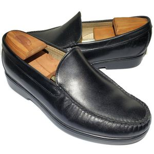 Photo SAS Men's Handsewn Black Leather Shoes Loafers Size 10.5 W Wide USA Made
