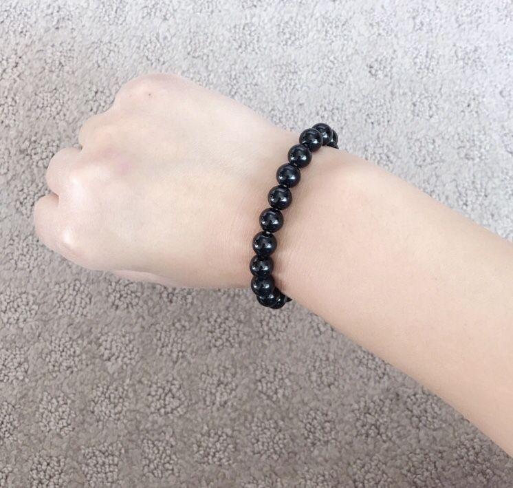 Natural Black Crystal Beads Charm Bracelet