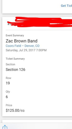 3 Zach Brown Tickets for sale for Sale in Denver, CO