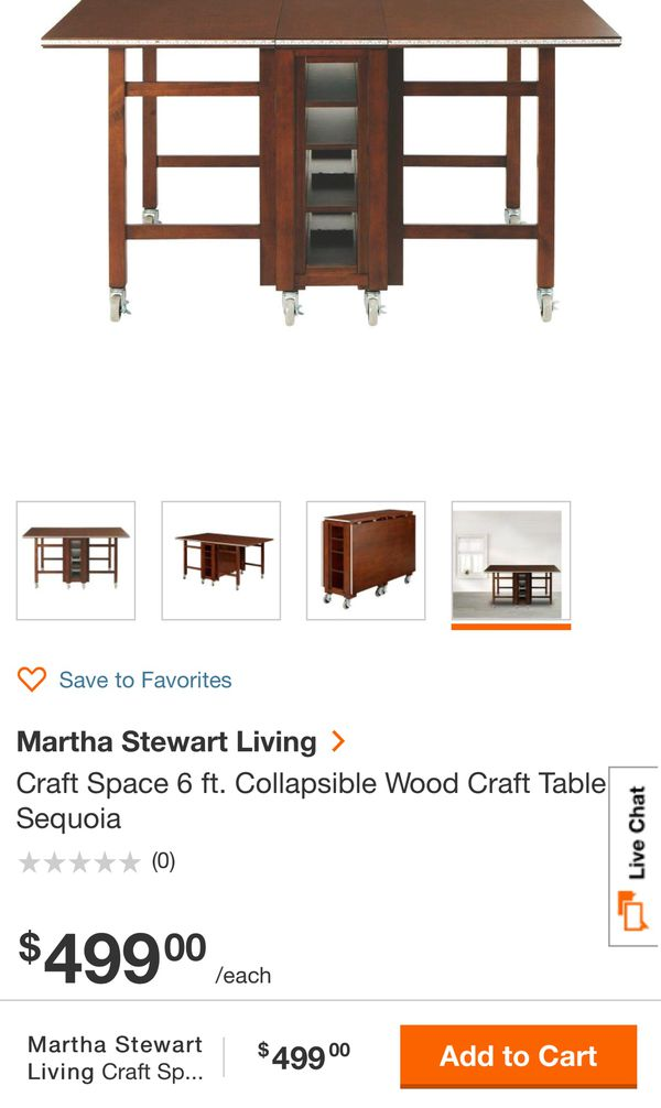 martha stewart living craft space 6 ft collapsible wood craft table