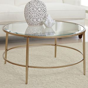 Birch Lane round glass coffee table for Sale in Washington, DC