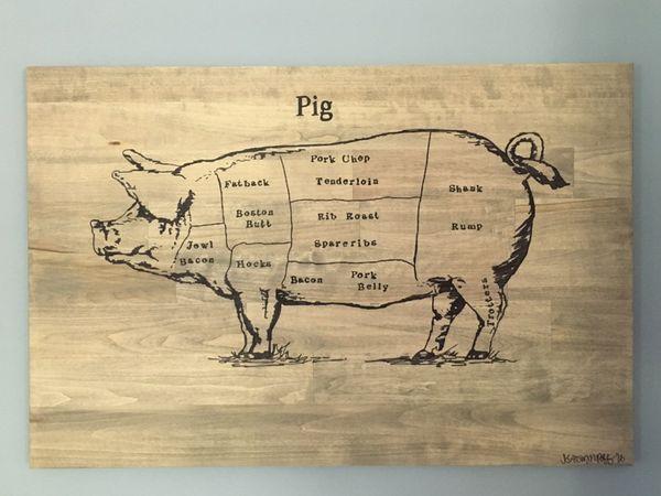 Hog Butcher Diagram Wood Wall Art For Sale In Louisville Ky Offerup