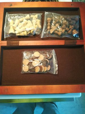 Wooden chess and checkers board game for Sale in Auburndale, FL