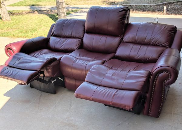 Burgundy Leather Dual Reclining Sofa Couch - delivery available for Sale in  Mesa, AZ - OfferUp