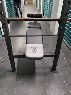 New adjustable bench with weights and bar golds gym for Sale in Orlando, FL