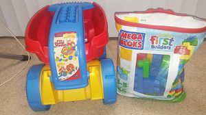 Fill and Dump Wagon with Large bag of Mega Blocks for Sale in Sugar Land, TX