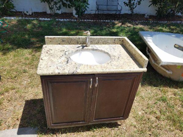 Bathroom Vanity with sink & granite top for Sale in Tampa ...