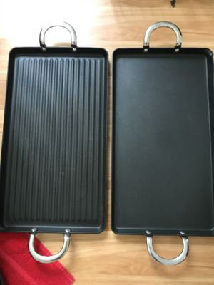 Williams-Sonoma Open Kitchen Non-Stick Double-Burner Grill & Griddle - Great condition! $40 Each Firm or $70 for both. for Sale in Raleigh, NC