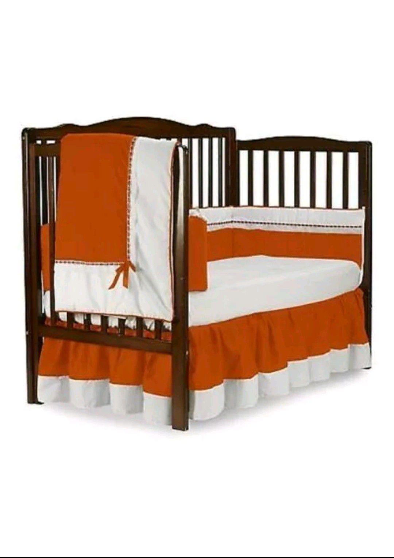 Baby Doll Bedding 530c8, Orange Regal 8 Pieces Crib Set with Bumper Pad, Orange