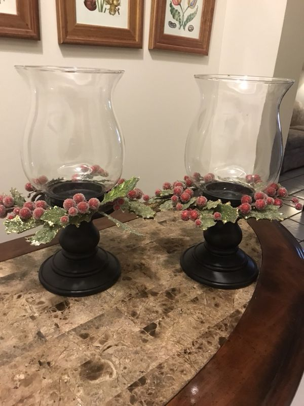 two hurricane lamps with removable christmas decoration home garden in miami fl offerup