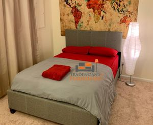 Brand New Queen Size Grey Upholstered Platform Bed Frame ONLY for Sale in Silver Spring, MD