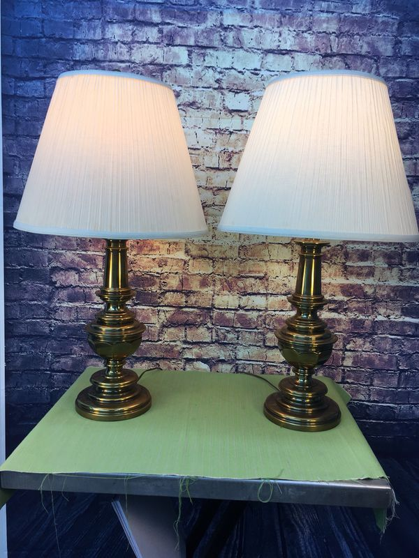 Vintage Matching Stiffel Table Lamps With Antique Brass Finish Amp Three Way Light Switch For