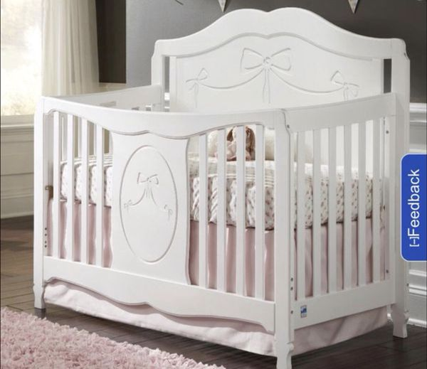 Stork Craft Princess 4 In 1 Fixed Side Convertible Crib White For